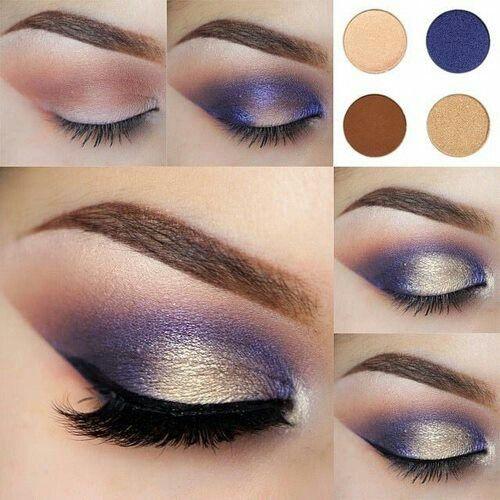 maquillaje de ojos noche azul