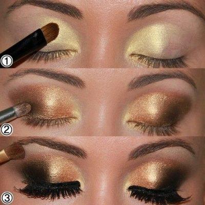 maquillaje de ojos noche dorado