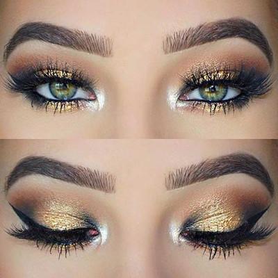 maquillaje ojos dorados con sombras