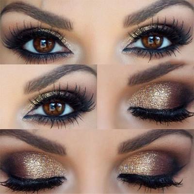 maquillaje ojos dorados de noche