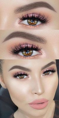 maquillaje rosado para ojos con sombras