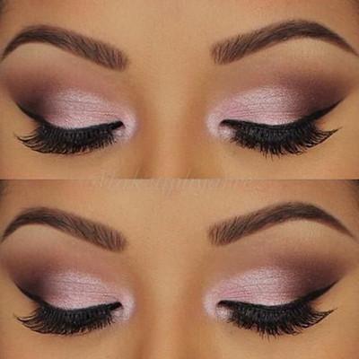 maquillaje rosado para ojos de noche